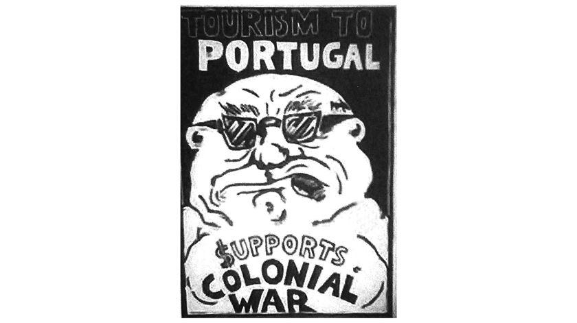 Uma caricatura contra a guerra colonial. Cortesia: Fernando Cardoso