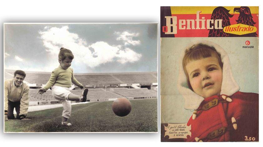 Lena com o pai no Estádio da Luz, em 1959. A primeira capa de revista, em Março de 1958