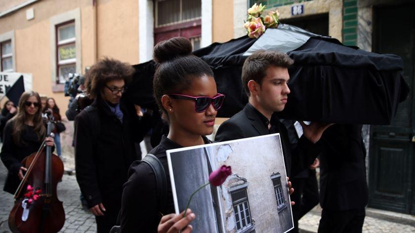 Um dos protestos feitos pelos alunos. Foto: Tiago Petinga/Lusa