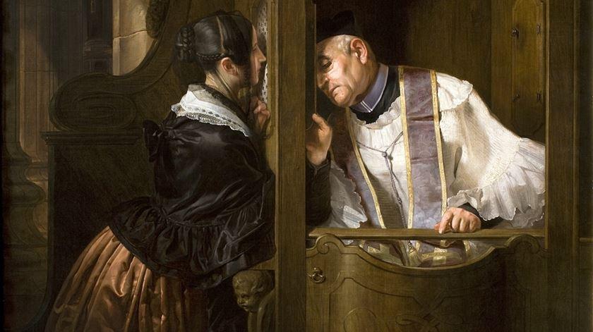 """Detalhe do quadro """"A Confissão"""", de Giuseppe Molteni. Foto: DR"""