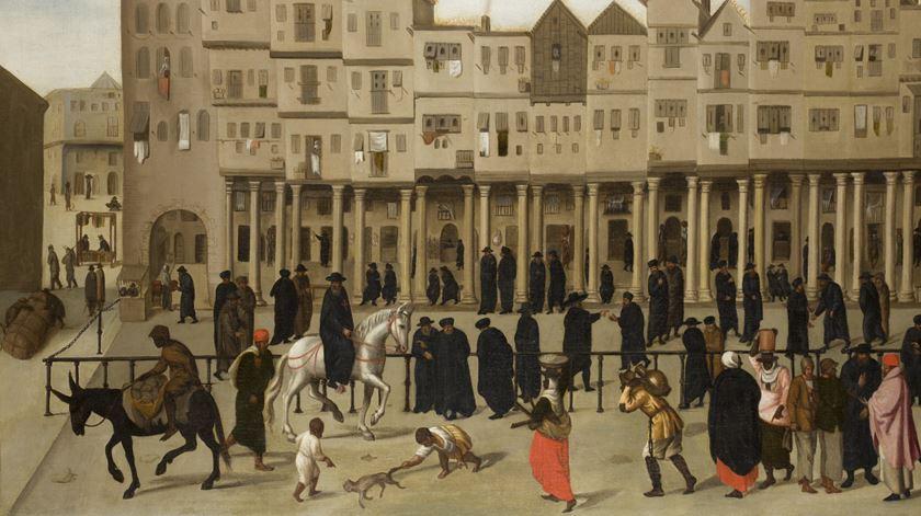 """""""Vista da Rua Nova dos Mercadores"""" é um dos quadros em exposição"""