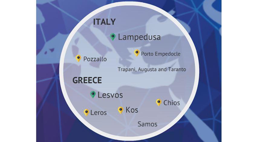 """Dos 11 """"hotspots"""" previstos (seis em Itália e cinco na Grécia), apenas dois estão em funcionamento (a verde na imagem)"""
