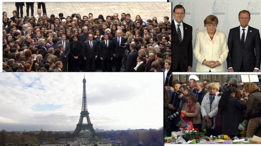Um minuto, vários silêncios. A homenagem às vítimas de Paris