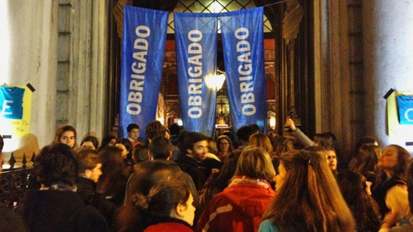 """Jovens do """"Eu Acredito"""" juntam-se em Lisboa para agradecer a Bento XVI. Foto: DR"""